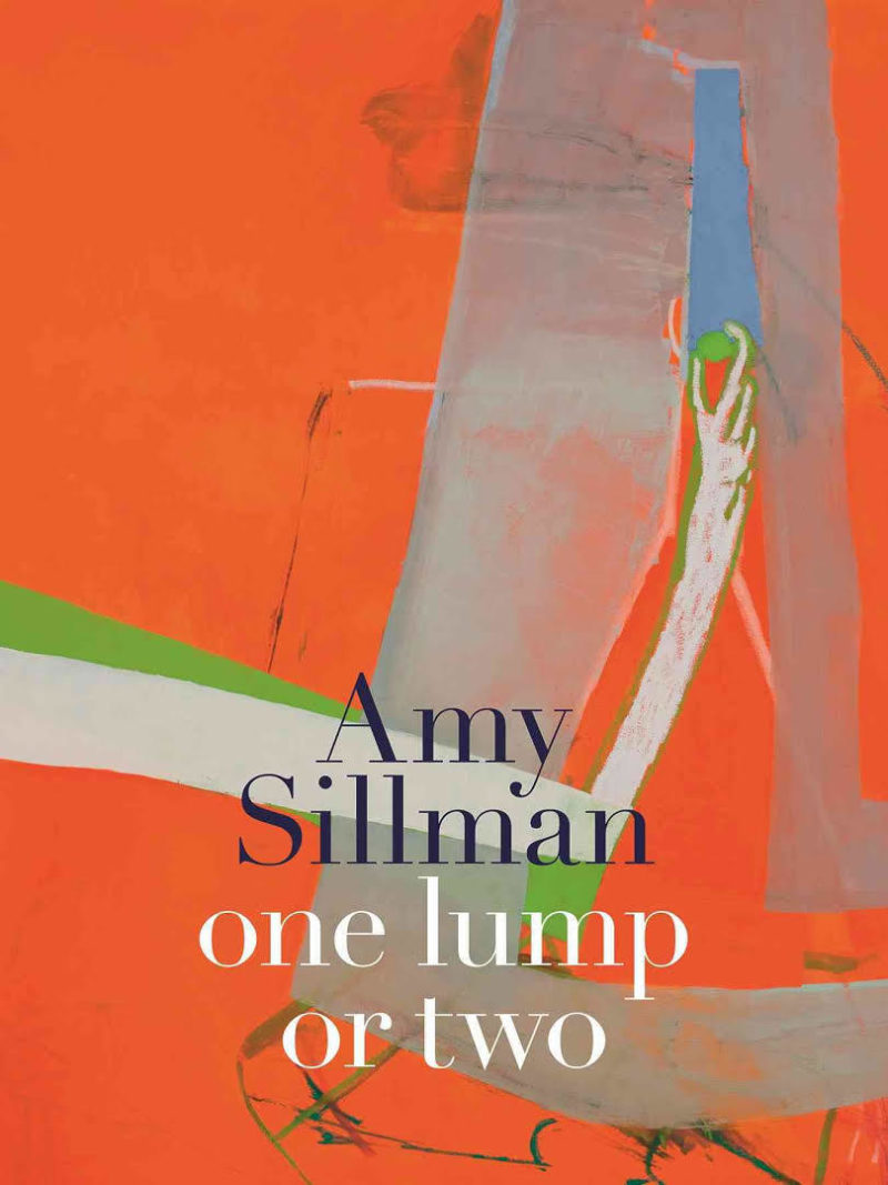 """Book cover of Amy Sillman's """"one lump or two"""" showing the title in black and white lettering over an abstract painting in red, green, grey and blue hues"""