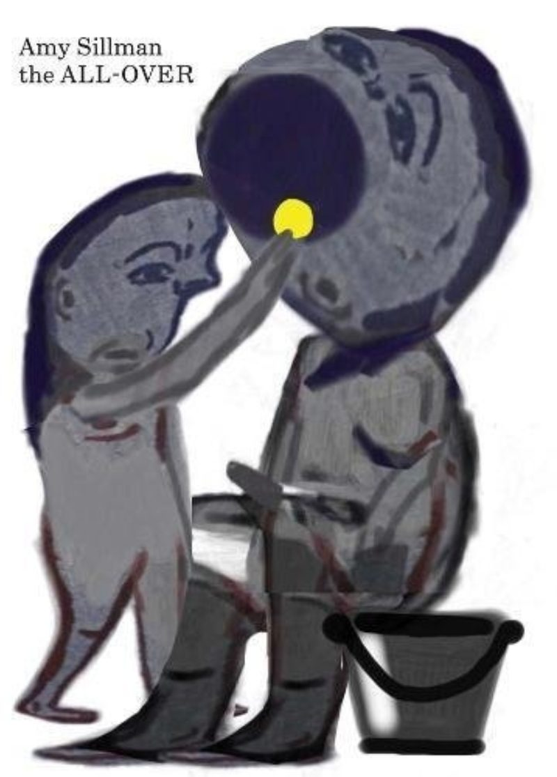 Book cover of Amy Sillman's 'the ALL-OVER' showing a figurative painting of two figures, one feeding the other a yellow circle the size of a coin